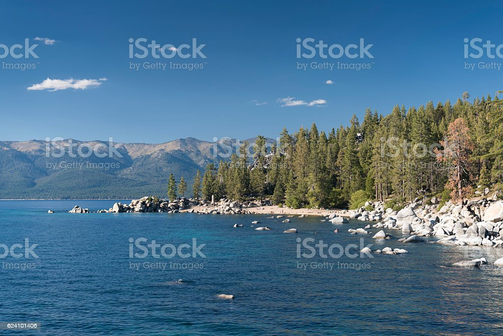 Chimney Beach, Lake Tahoe State Park, Nevada, USA stock photo