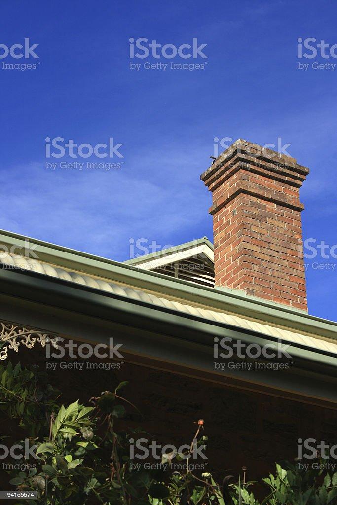 Chimney, Brick on 1900's bungalow royalty-free stock photo