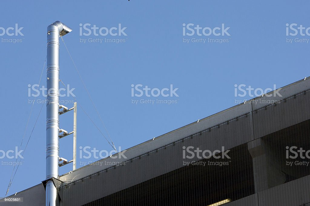 Chimney / exhaust on Car Park stock photo