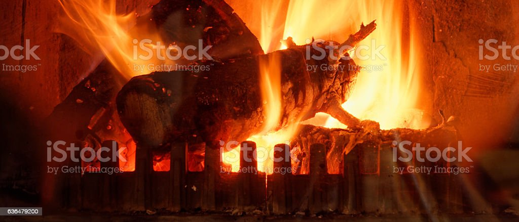 Chimney fire romantic fireplace darker stock photo