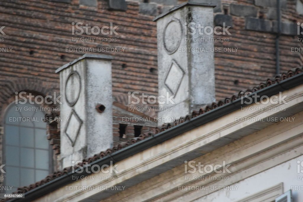 Chimney in Piazza della Vittoria in Pavia stock photo