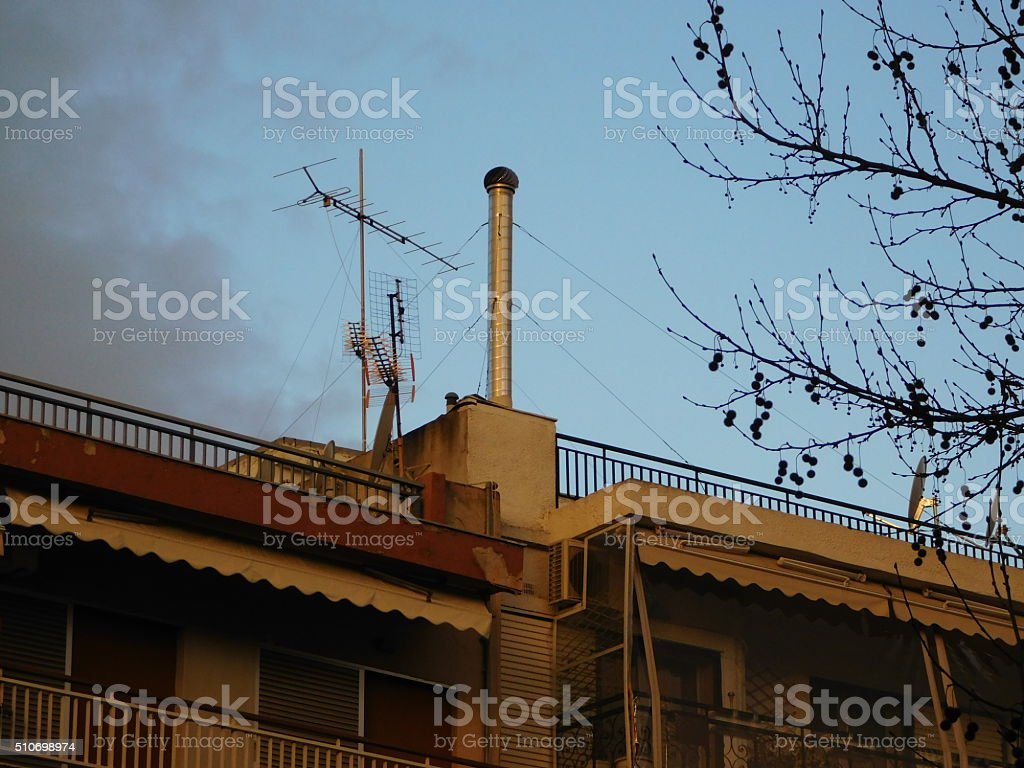 Chimney in the middle of the sky royalty-free stock photo