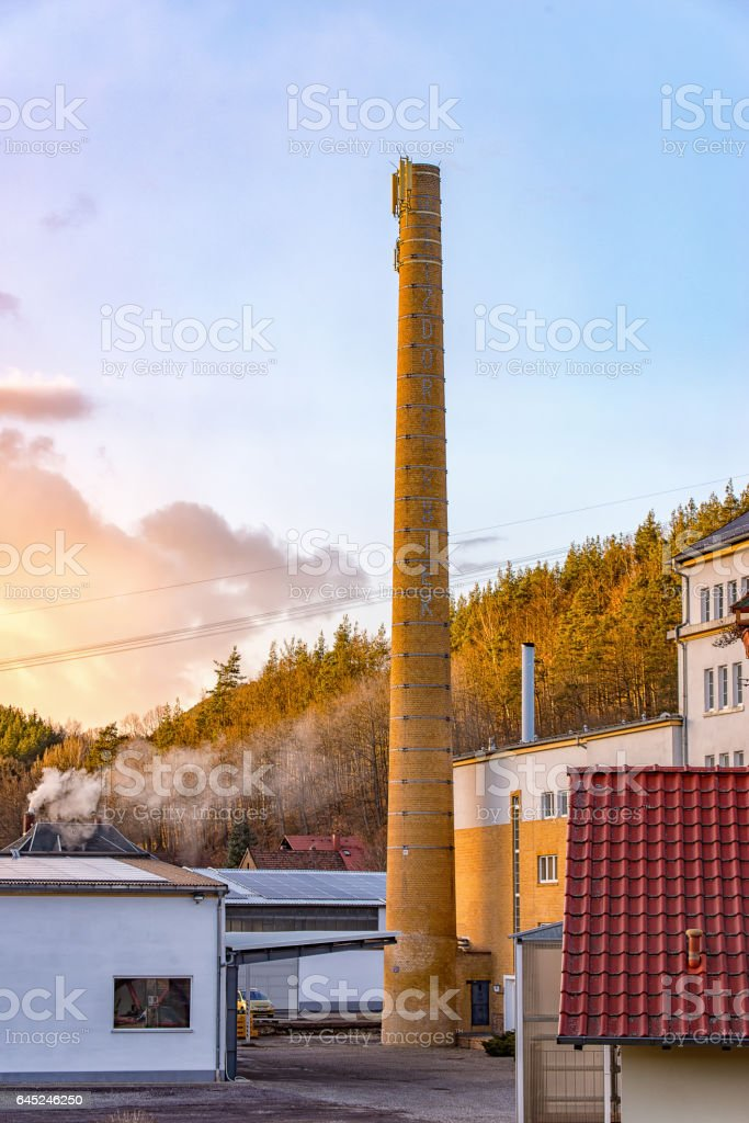 Chimney of a brewery stock photo