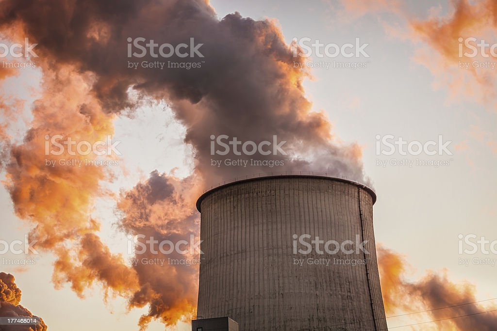 Chimney of a Coal Power Plant royalty-free stock photo