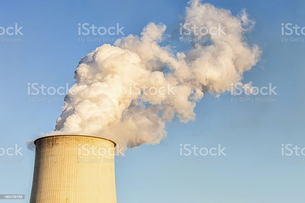 Chimney of a Coal Power Plant stock photo