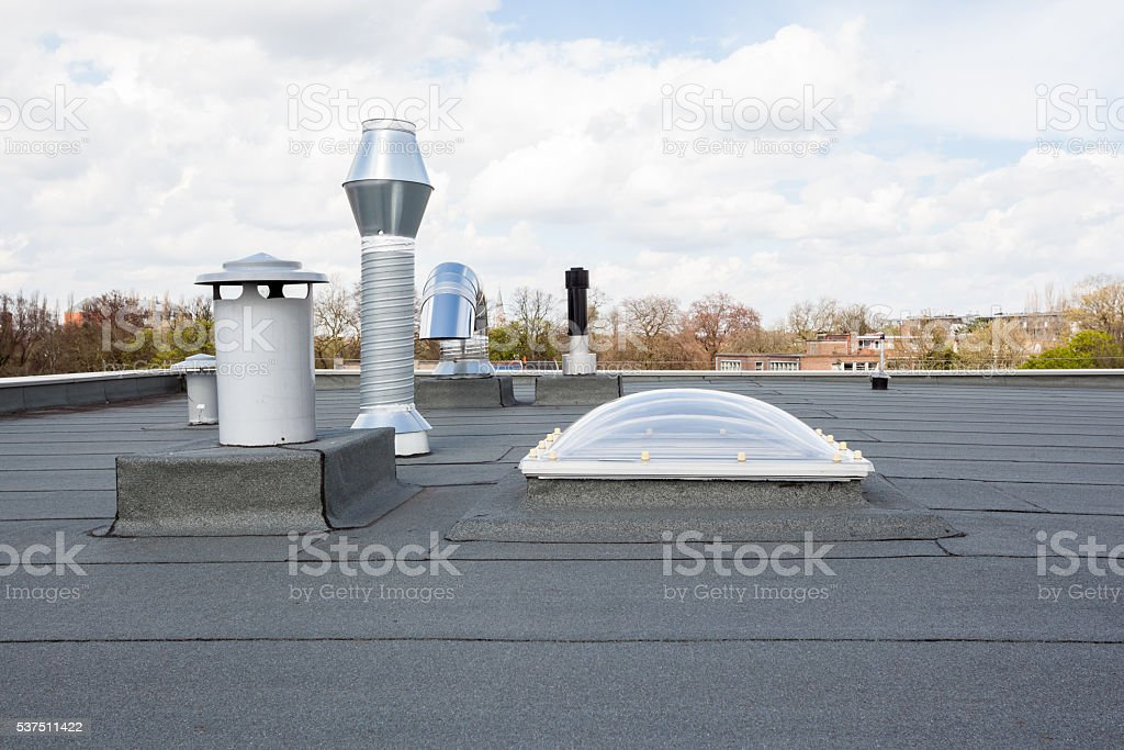 Chimney on the roof stock photo