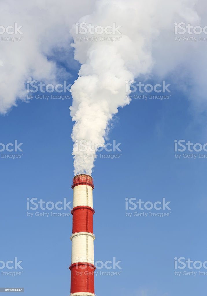 chimney power plant against stock photo