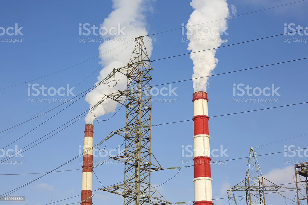 chimney power plant against royalty-free stock photo
