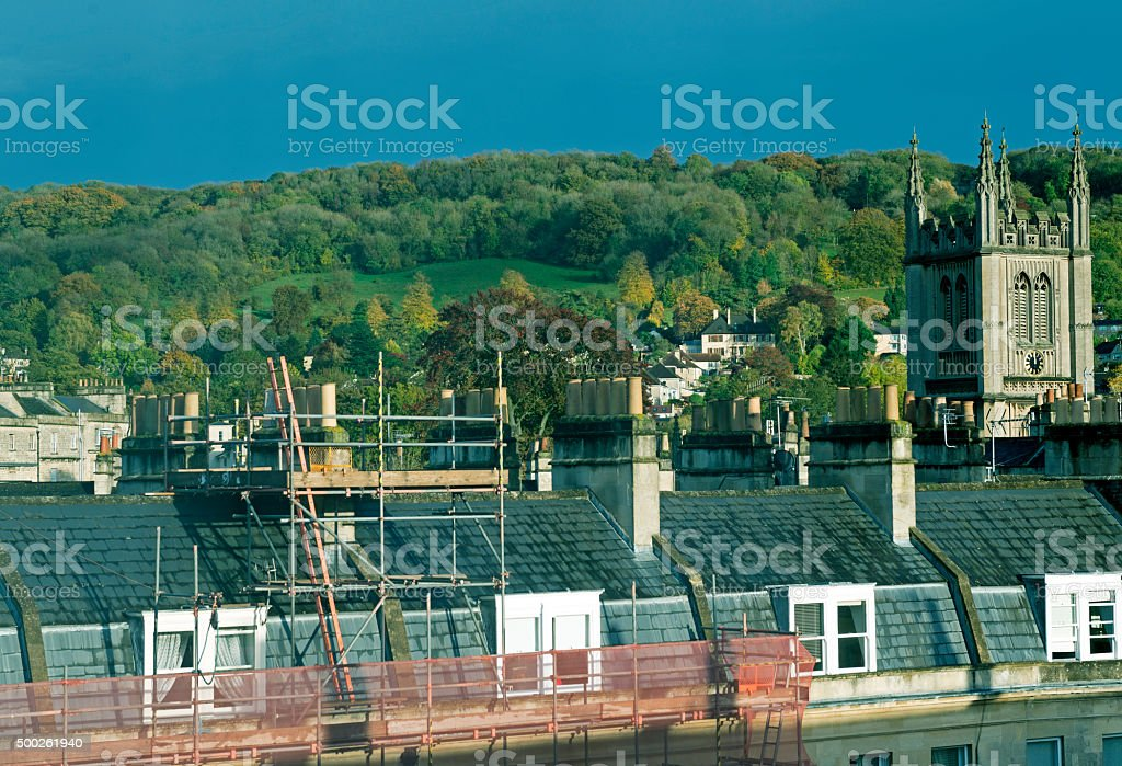 Chimney repair in residential area of Bath England stock photo
