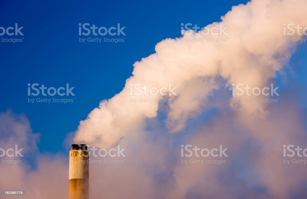 Chimney stack at a coal fueled power station. royalty-free stock photo