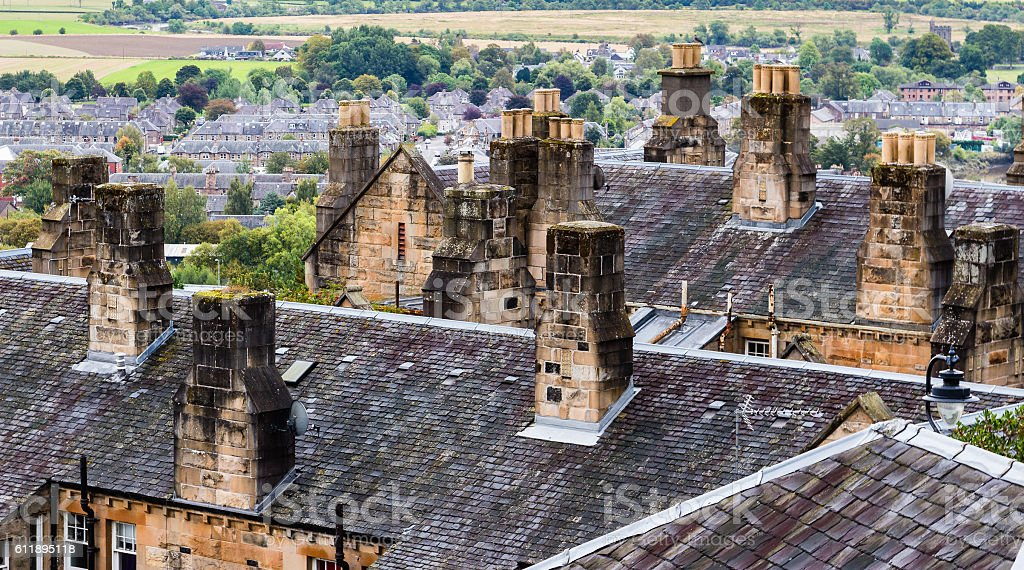 Chimney stacks and roofs in Stirling Old Town, Scotland stock photo