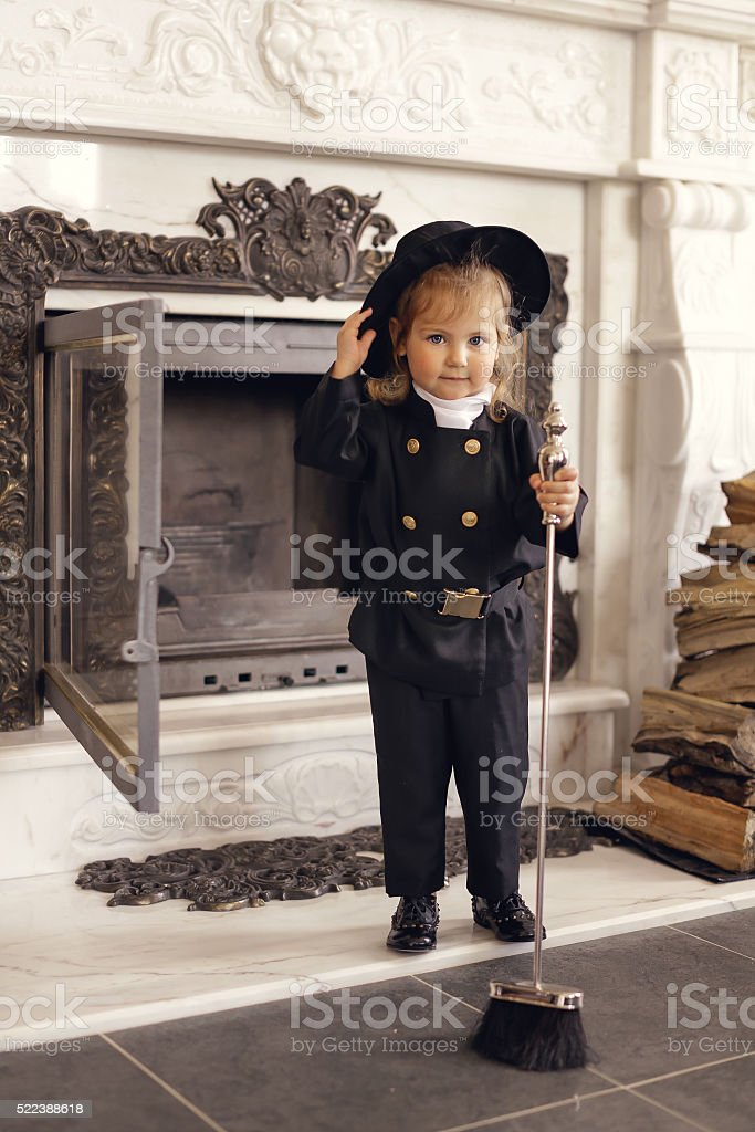 Chimney Sweep Playful Girl stock photo