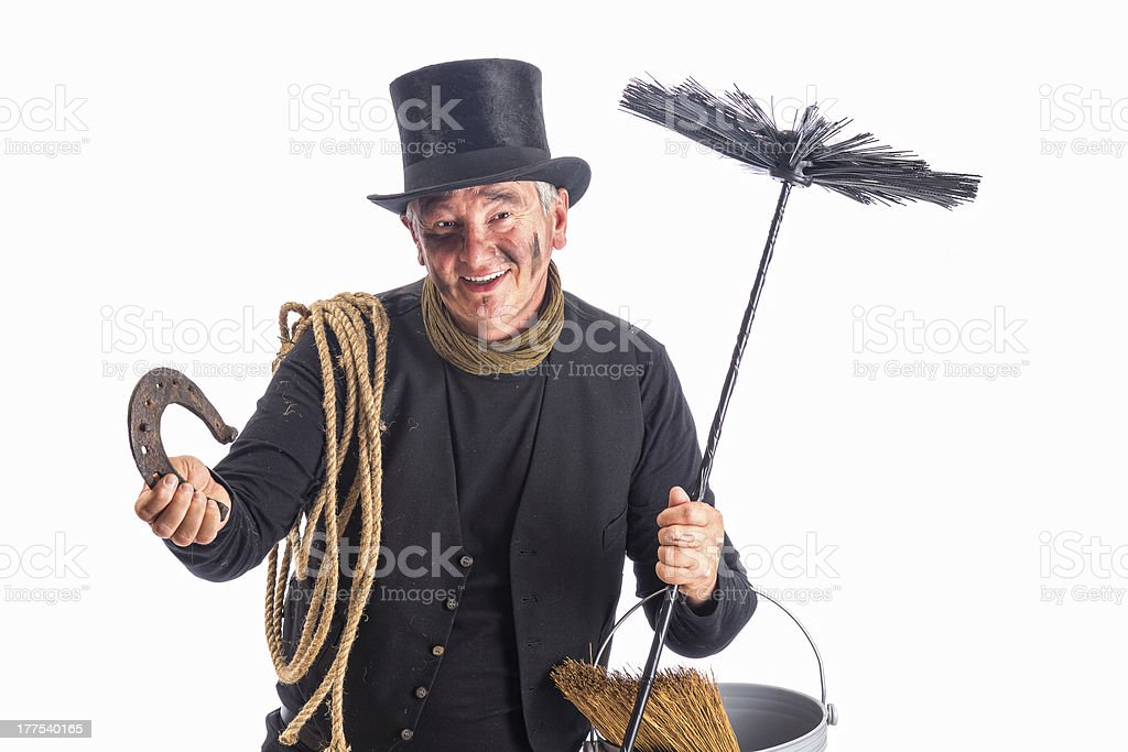 Chimney sweep wishing good fortune stock photo