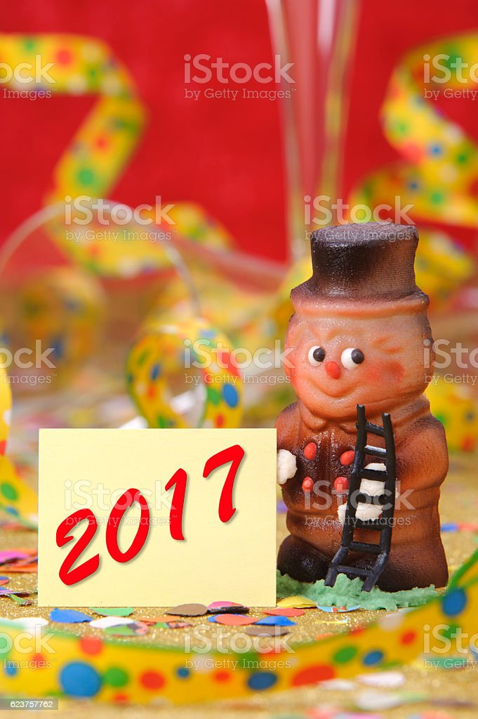 chimney sweeper as talisman for success at new year 2017 stock photo