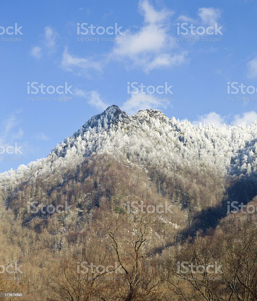 Chimney Tops with snow in smokies stock photo