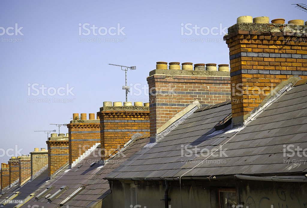 Chimneys and rooftops stock photo