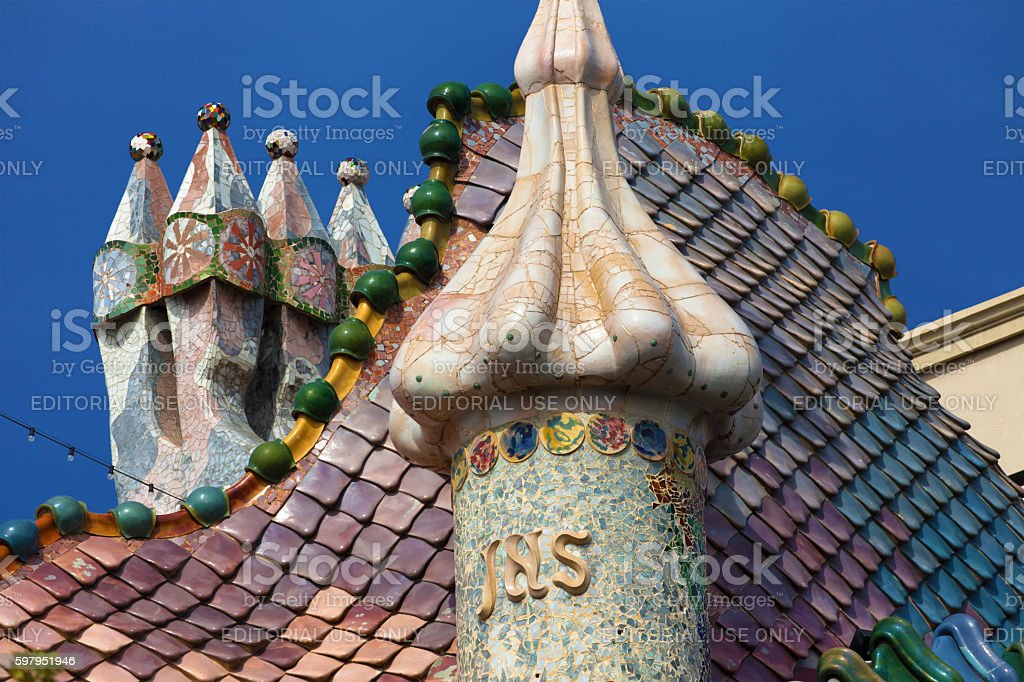 Chimneys of the Casa Batllo stock photo