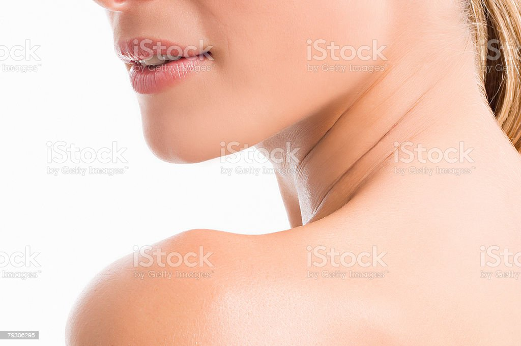 Chin neck and shoulder of a woman stock photo