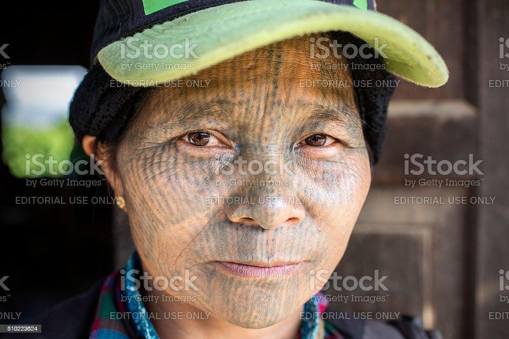 Chin Tribal Tattooed Woman (Yin Duu). stock photo