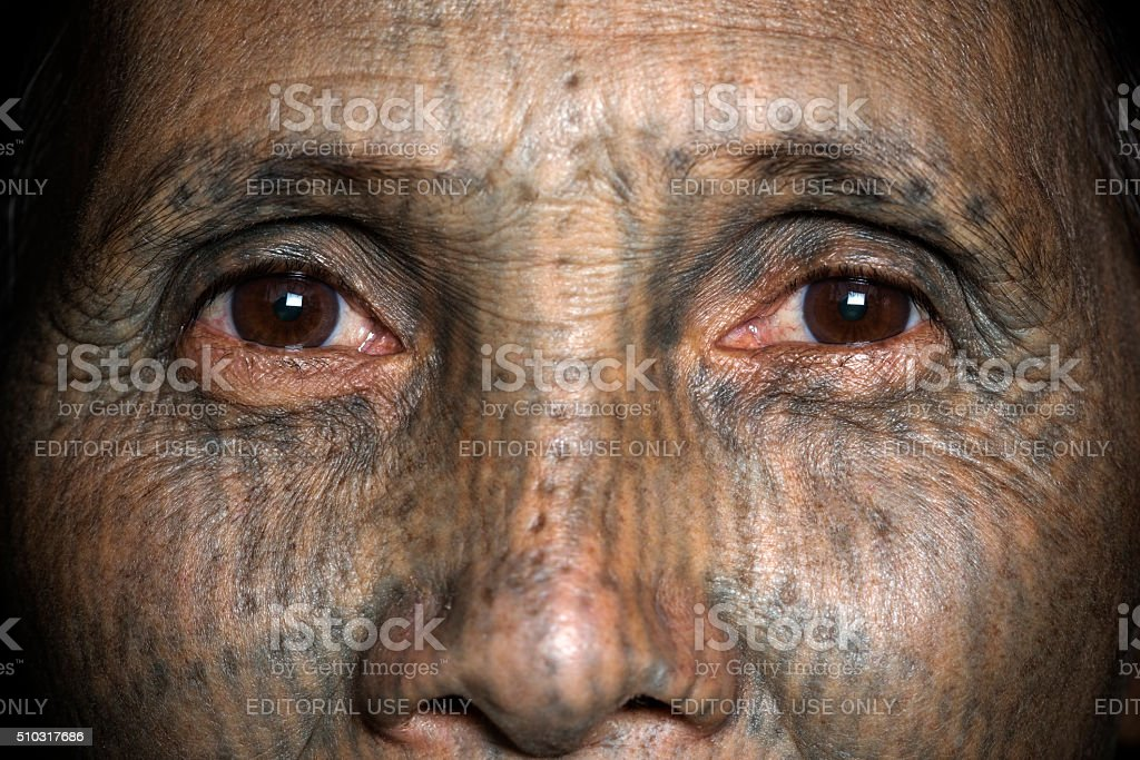 Chin Tribal Tattooed Woman (Yin Duu tribe). stock photo