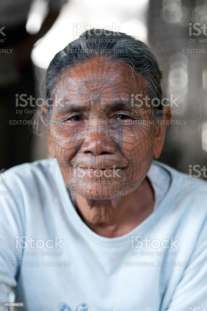 Chin Tribe Tattoed Woman, Myanmar stock photo