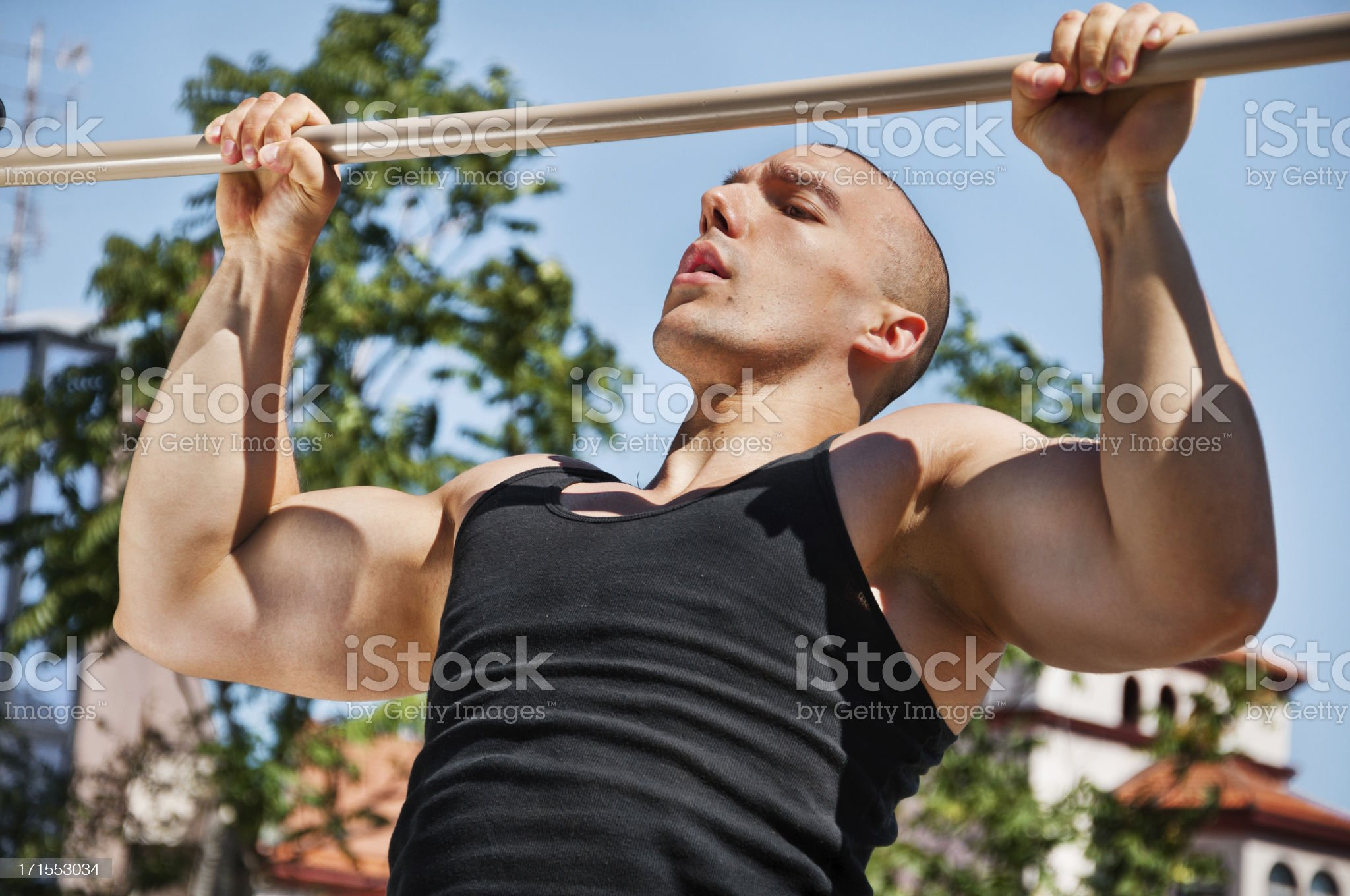 Chin ups, upper stance royalty-free stock photo