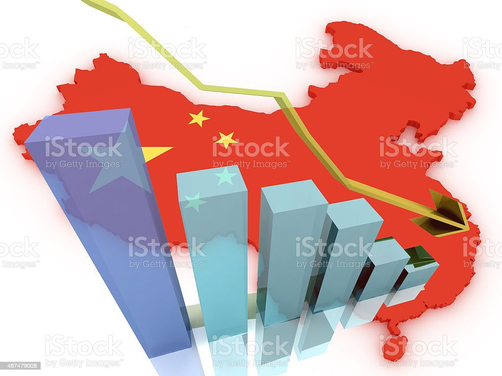 china 3d map stock markets down stock photo