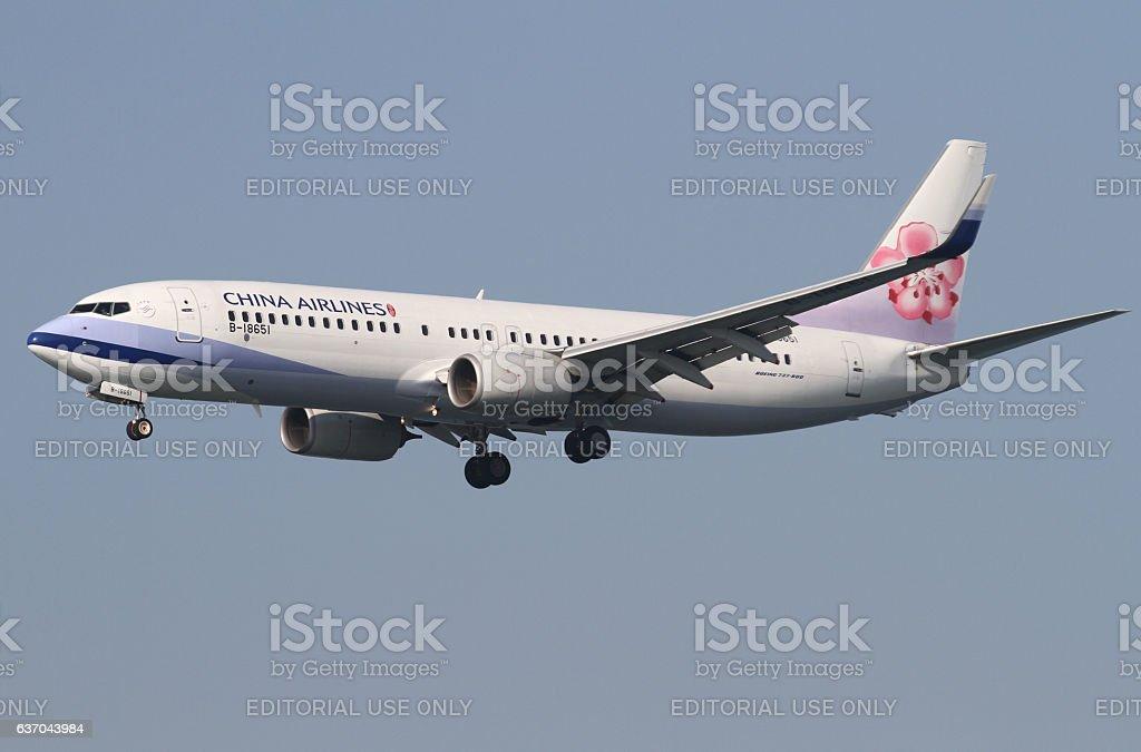 China Airlines Boeing 737 Landing at Hong Kong stock photo