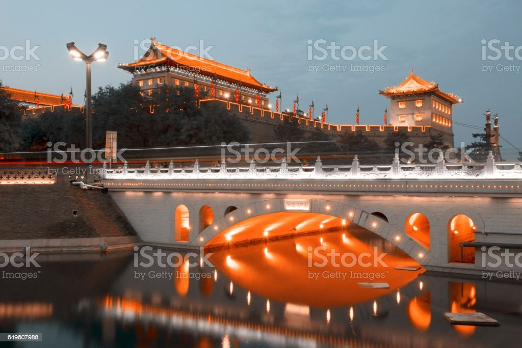 China ancient city wall,city moat and gate tower stock photo