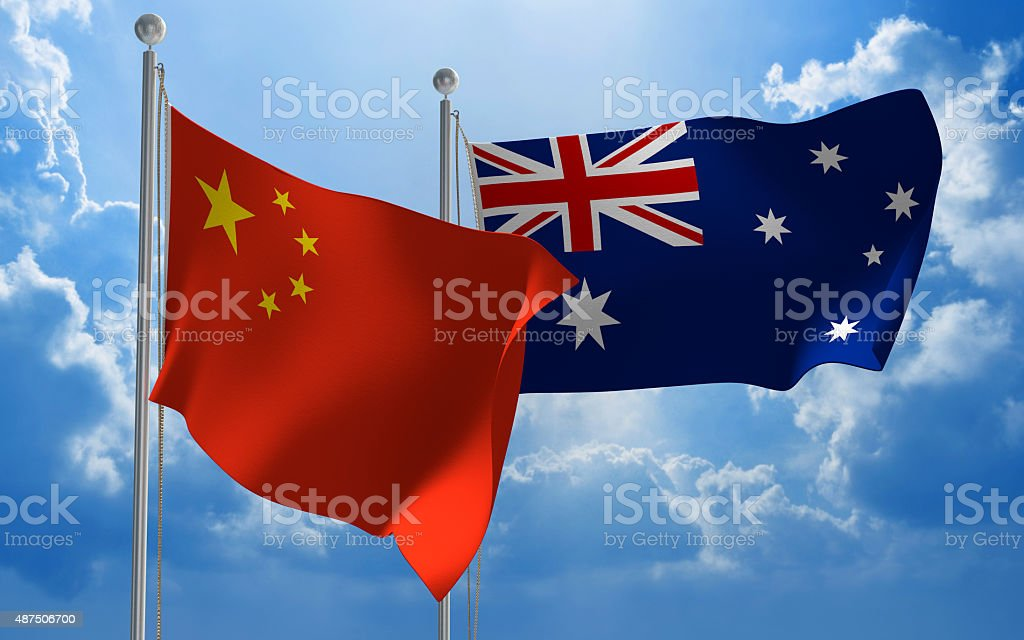 China and Australia flags flying together for diplomatic talks stock photo