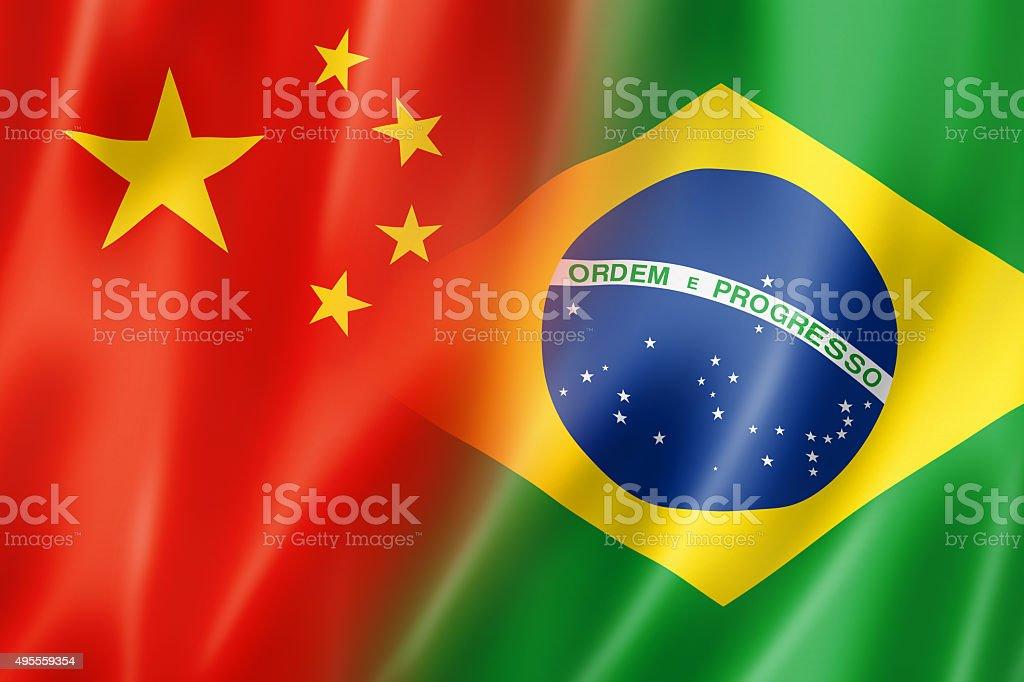China and Brazil flag stock photo