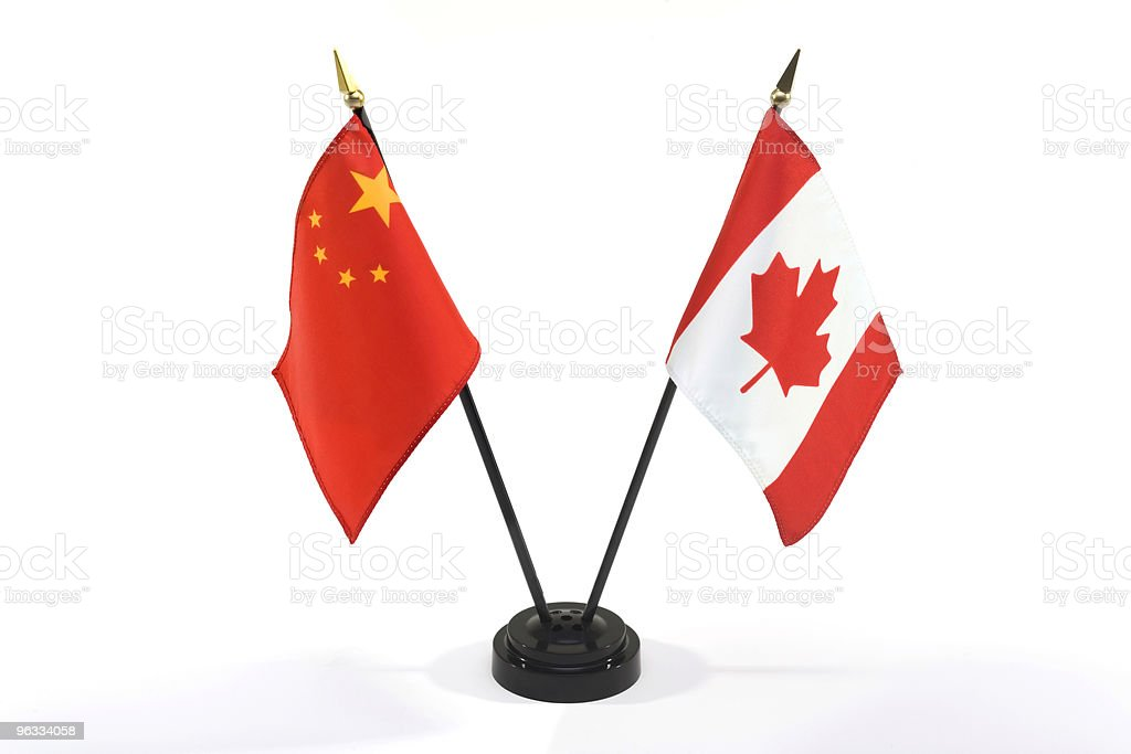 China and Canada flags isolated stock photo