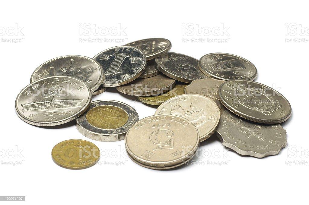 China and Hong Kong Coins royalty-free stock photo