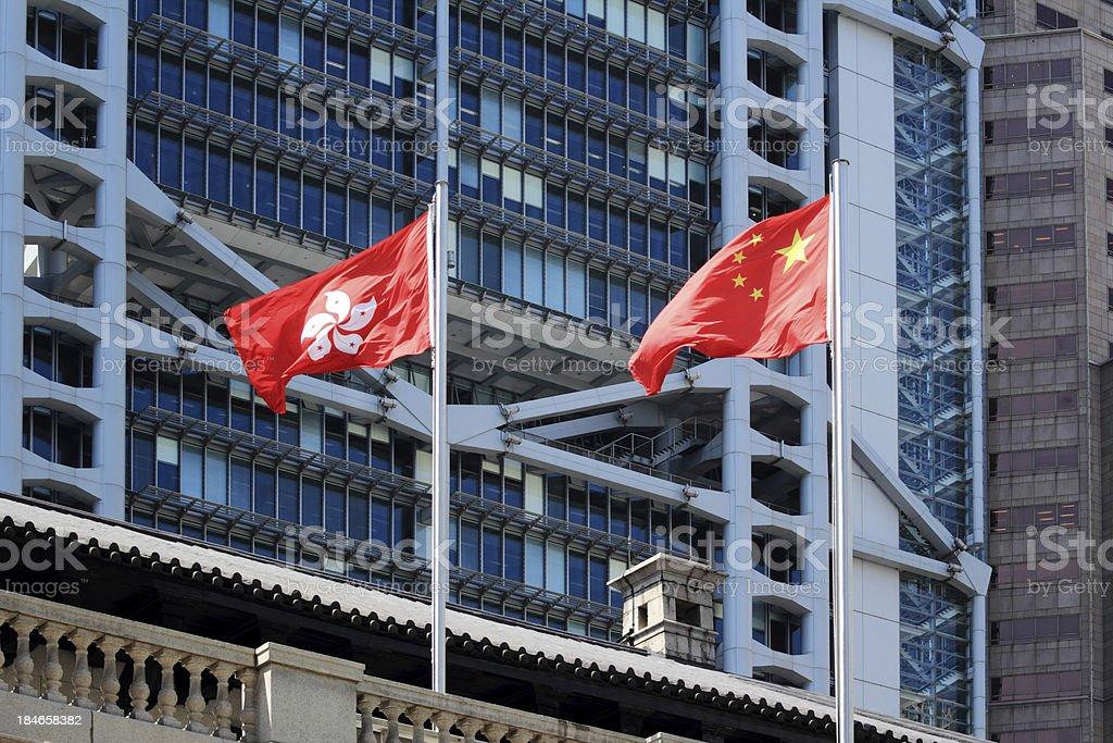 China and Hong Kong flags royalty-free stock photo