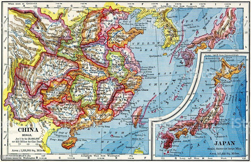China And Japan Map 1883 stock photo