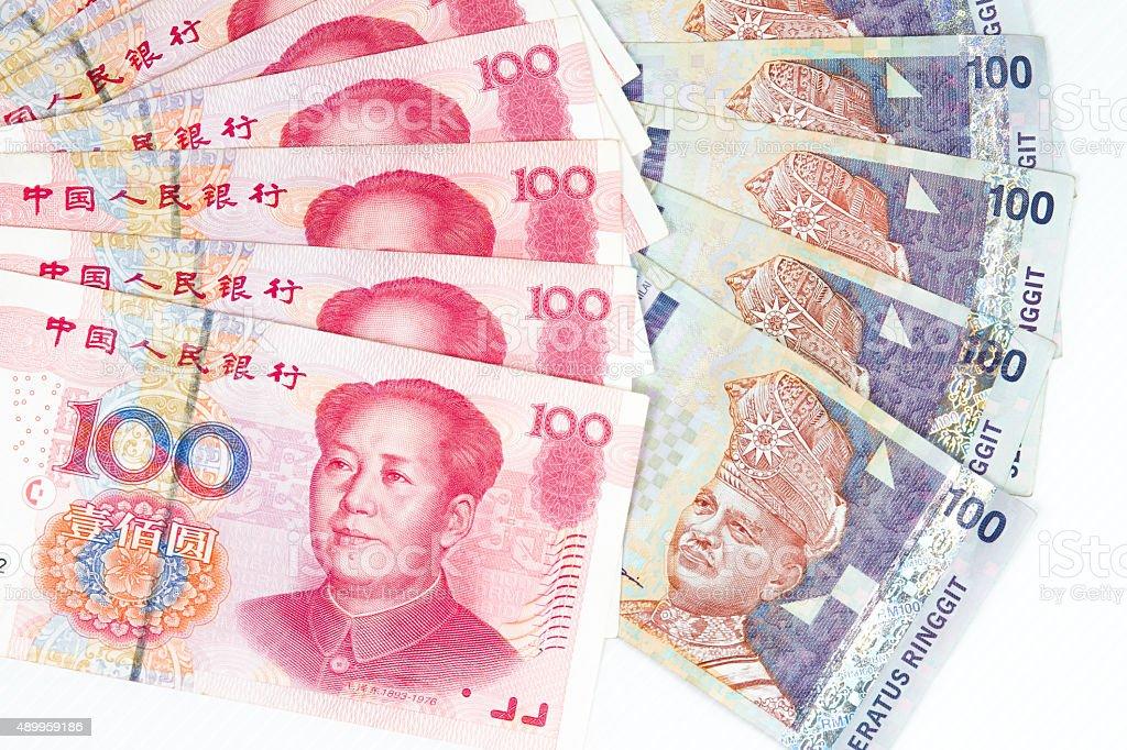 China and Malaysia Bills in White Background stock photo