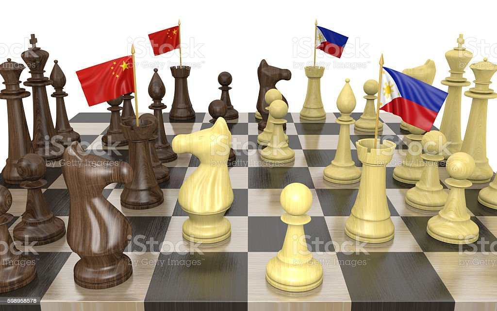 China and Philippines foreign policy strategy and power struggle stock photo