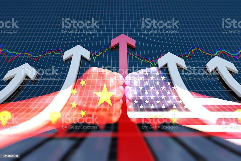China and the United States competition, the successful economic arrow stock photo