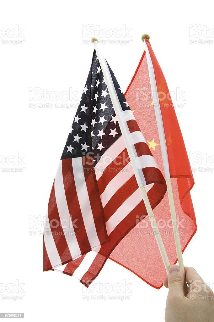 China and USA Flag stock photo