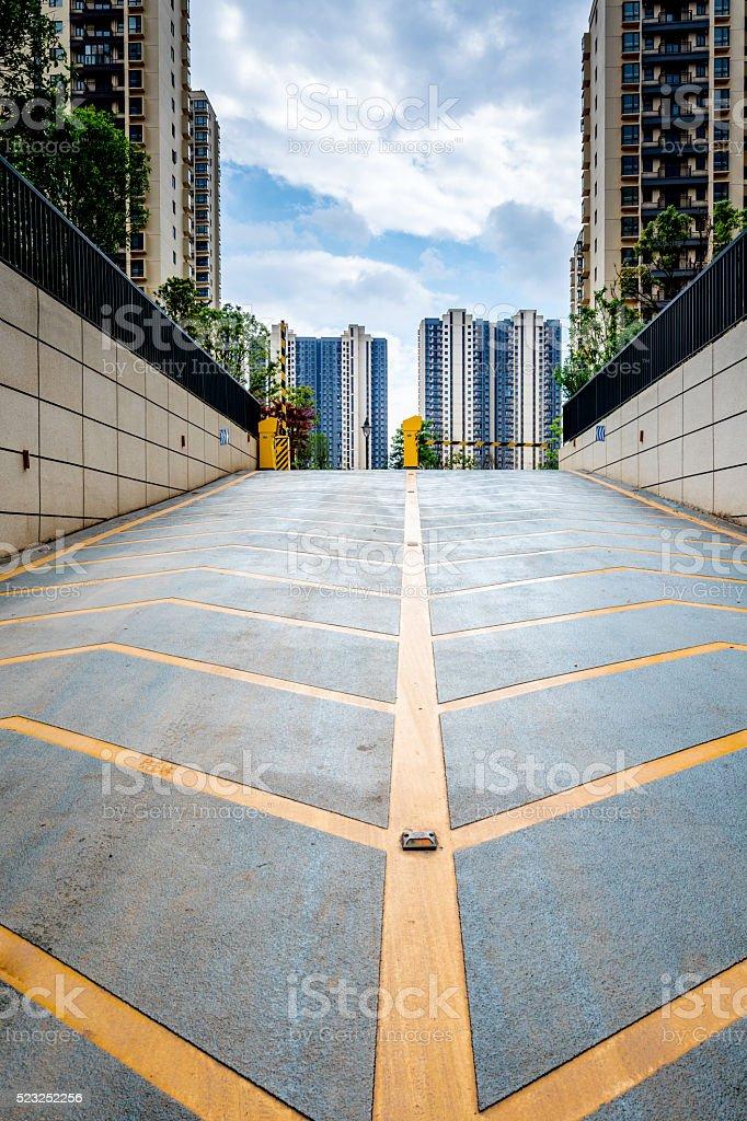 China area, underground parking entrance stock photo
