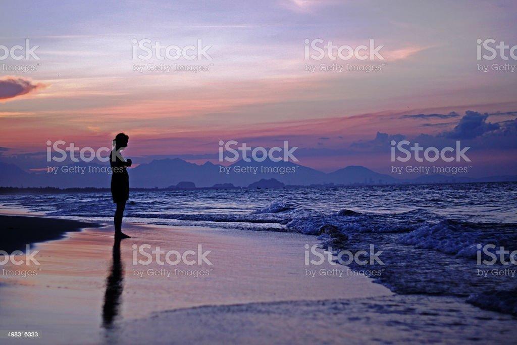 China Beach, Vietnam at Sunset stock photo