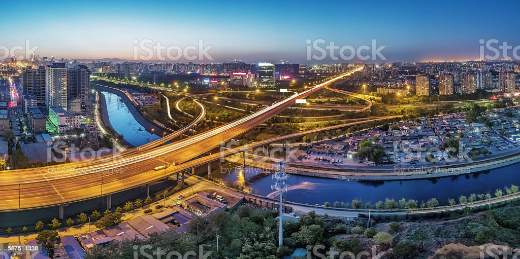 China Beijing overpass after sunset night stock photo