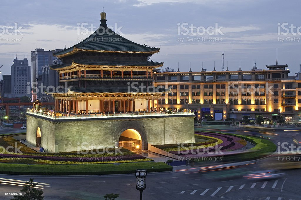 China Bell Tower Xi'an illuminated dusk stock photo