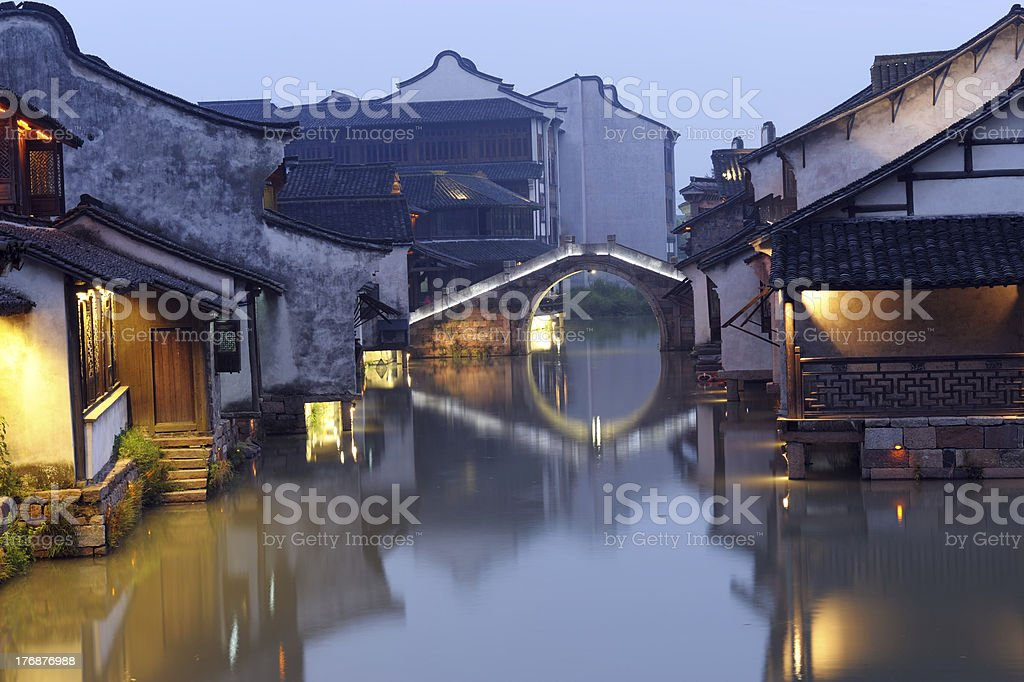 China building night scene stock photo