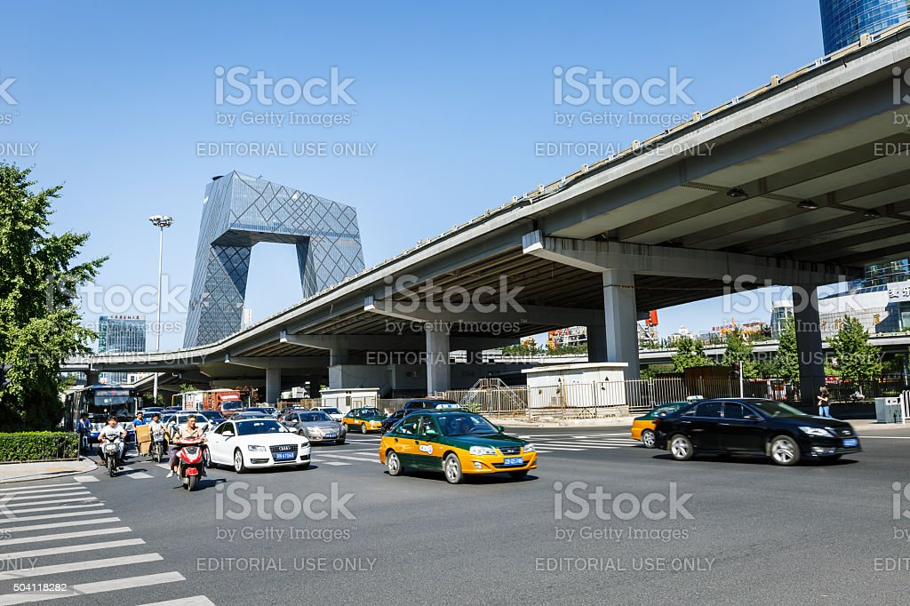 China Central Television (CCTV) Headquarters scenery,in Beijing, China stock photo