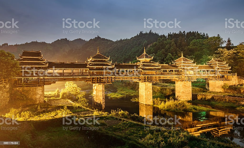 China ChengYang Wind Rain Bridge at Night stock photo