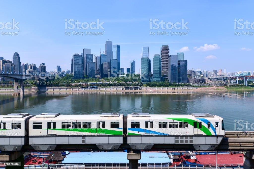 China Chongqing elevated light rail stock photo