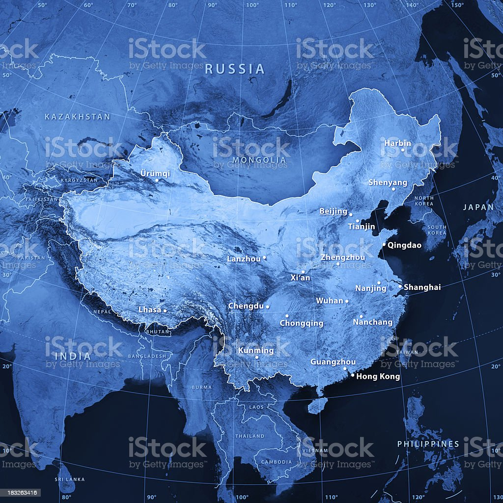 China Cities Topographic Map royalty-free stock photo