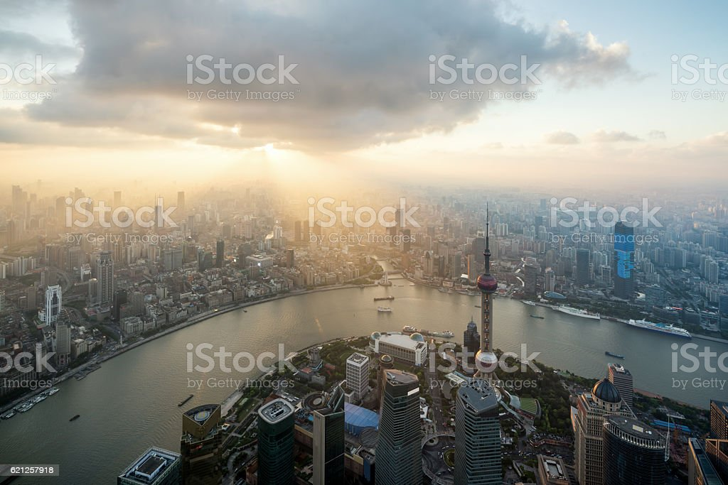 China cityscape overlooking the Financial District  and Huangpu River. stock photo