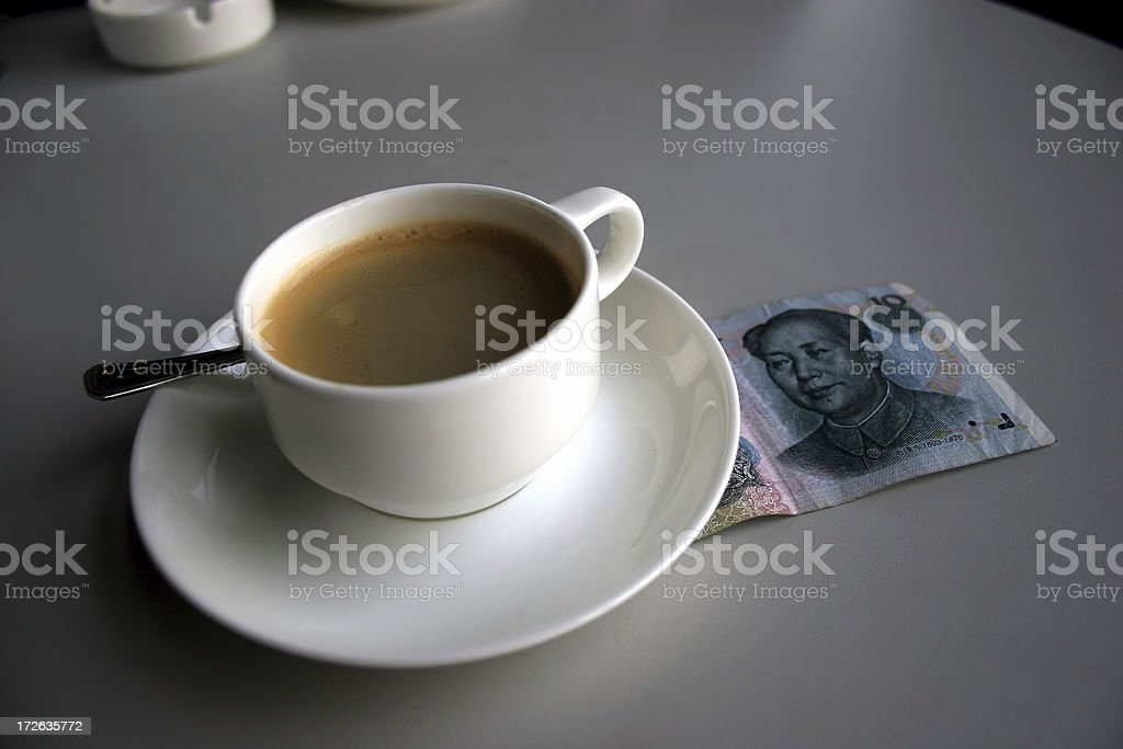 China: coffee with Mao Zedong royalty-free stock photo